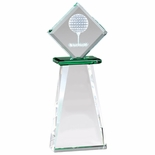 3-1/4 x 8-1/2 OPTICAL CRYSTAL GOLF TOWER TROPHY WITH GOLF BALL TEE