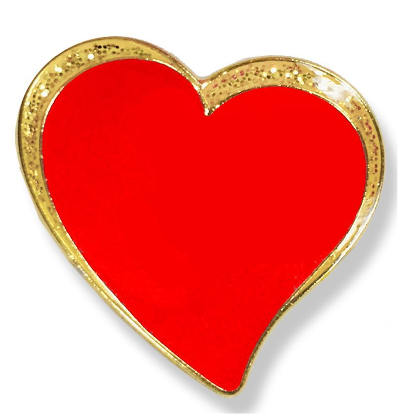 3/4 INCH SPARKLE MODERN RED HEART LAPEL PIN