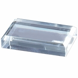 OPTICAL CRYSTAL RECTANGULAR PAPERWEIGHT WITH BEVELED EDGES
