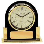 5-1/4 INCH BLACK ACRYLIC WITH GOLD FRAME QUARTZ MOVEMENT DESK CLOCK
