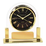 5-1/4 INCH CLEAR ACRYLIC WITH GOLD FRAME QUARTZ MOVEMENT DESK CLOCK