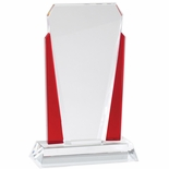 5-1/4 x 8-1/4 INCH OPTICAL CRYSTAL SLANTED TOWER WITH RED ACCENTED SIDE