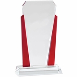 6 x 10 INCH OPTICAL CRYSTAL SLANTED TOWER WITH RED ACCENTED SIDE