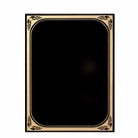 6 X 8 BLACK MARBLEIZED BRASS PLATED STEEL WITH GOLD FROSTED BORDER