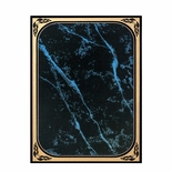 6 X 8 BLUE MARBLEIZED BRASS PLATED STEEL WITH GOLD FROSTED BORDER