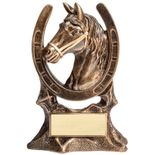7 INCH ANTIQUE GOLD RESIN HORSE HEAD AND SHOE TROPHY