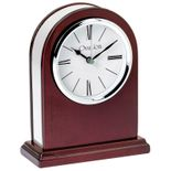 7 x 5-1/2 INCH ROSEWOOD PIANO FINISH OVAL QUARTZ DESK CLOCK WITH SILVER ACCENTS