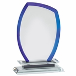 8-1/4 x 5-3/4 INCH OPTICAL CRYSTAL COOL BLUE FLAME AWARD