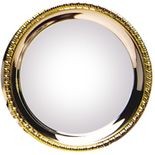 8 IN SILVER PLATED GADROON TRAY WITH GOLD BORDER