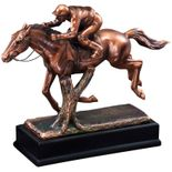 9-1/2 INCH ELECTROPLATED BRONZE JOCKEY ON RACING HORSE TROPHY