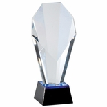 9-1/4 x 4 OPTICAL CRYSTAL SLANTED TOWER AWARD ON BLACK BASE