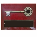 9 x 12 INCH KEY TO THE CITY PLAQUE ANTIQUE BRASS KEY