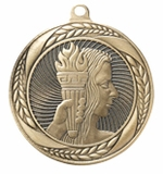 R Series, 2-1/4 Inch Antique Finish Laurel Wreath Medals with Recessed Back For 2 Inch Insert Series