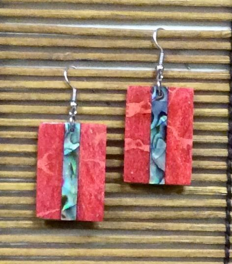 Abalone & Coral Rectangle Earrings