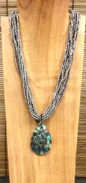 Abalone Teardrop Shell Necklace - Silver