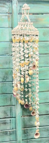 Butterfly Sea Shell Wind Chime in yellow - 15cm