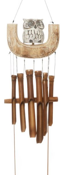 Carved Owl Wind Chime on a Swing