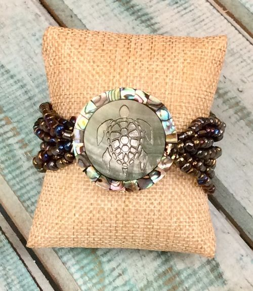 Etched Sea Turtle & Abalone Stretch Bracelet