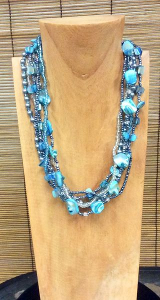 Fall Pearl Necklace - Turquoise