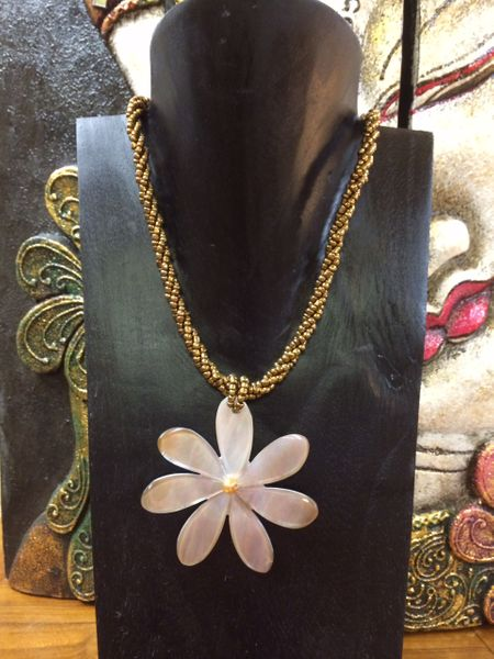 Gold Pearl Flower Necklace