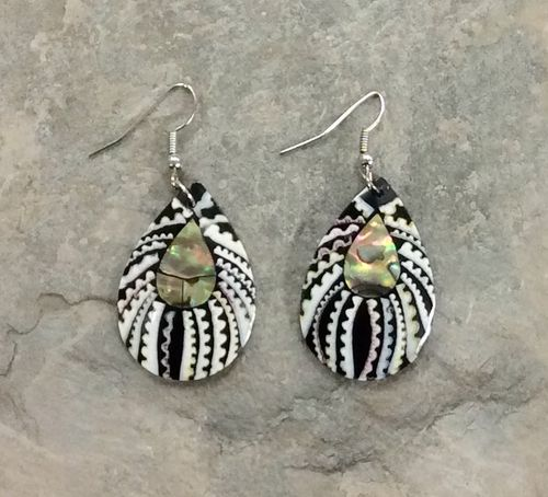 Inlaid Abalone and Shell Spider Earrings