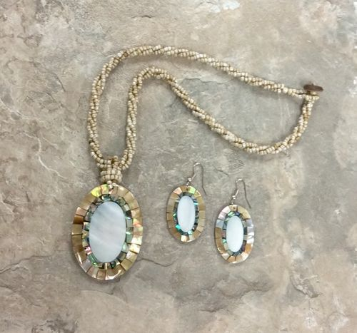 Inlaid Gold Shell and Abalone Necklace