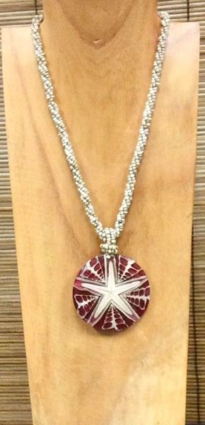 Inlaid Starfish Necklace - Red