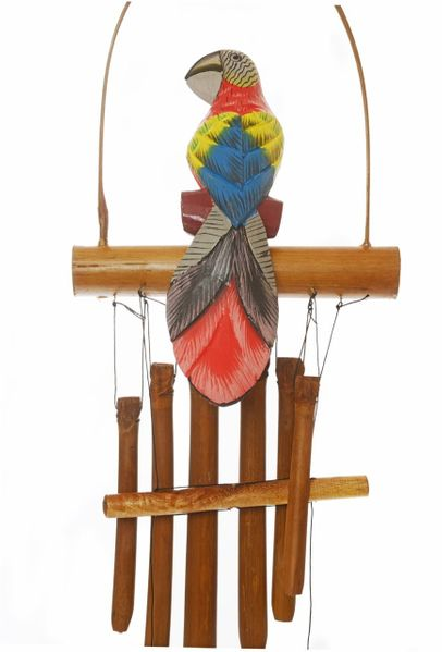 Wooden Parrot Wind Chime - red