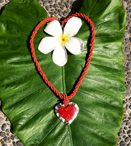 Inlaid Coral & Abalone Heart Necklace
