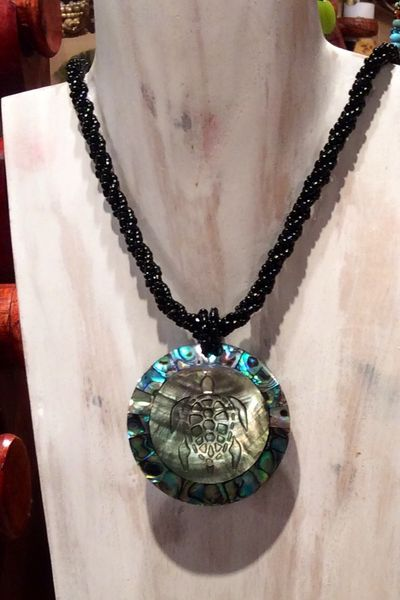 Inlaid Carved Turtle & Abalone Shell Necklace