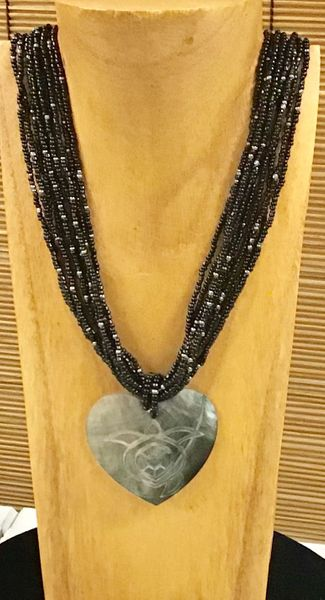 Turtle Heart Shell Necklace - Black