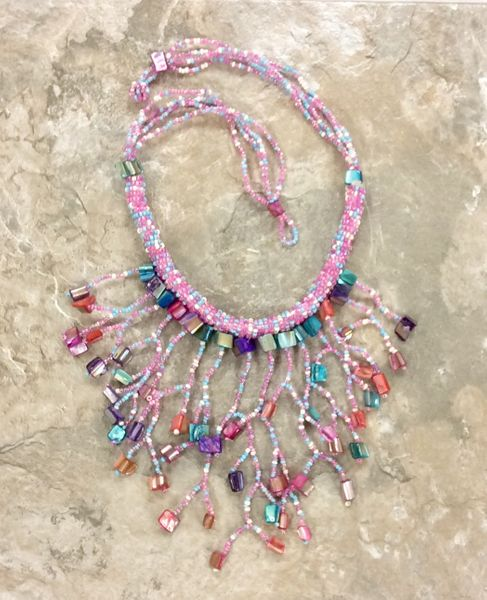 Waterfall Shell Necklace - Pink