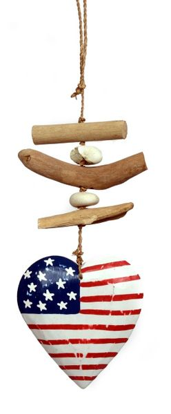 Wooden American Flag Heart Decoration