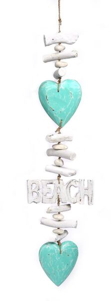 Wooden Hearts with Beach word