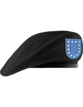 Army Black Beret w/ Army Flash (Unlined)