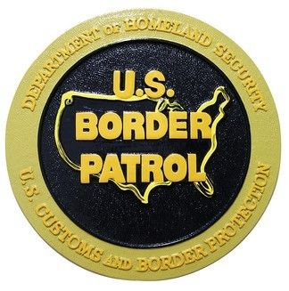 Border Patrol Wall & Podium Plaques hand Carved Mahogony