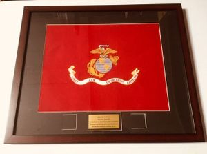 "Framed 19"" x 15"" USMC Organizational Flag"