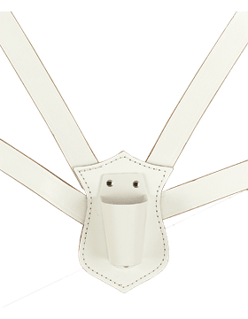 White Leather Double Strap Carry Harness