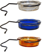 Pole-Mount Mealworm Feeder Glass Dish (clear, blue, or orange)