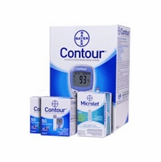Bayer Contour Diabetic Monitoring Kit Combo (Meter+100 test strips+100 lancets)