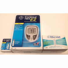Bayer Contour Next EZ Meter and Microlet Lancets and 250 Strips (5 Boxes of 50)