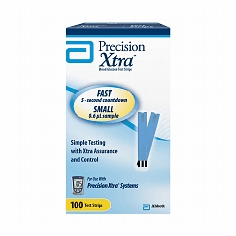 Precision Xtra Blood Glucose Test Strips Box of 100 (Retail)