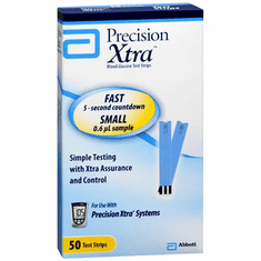 Precision Xtra Blood Glucose Test Strips Box of 50 (Retail)