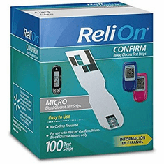Reli On Confirm/Micro Blood Glucose Test Strips Box of 100