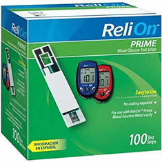 Reli On Prime Blood Glucose Test Strips Box of 100