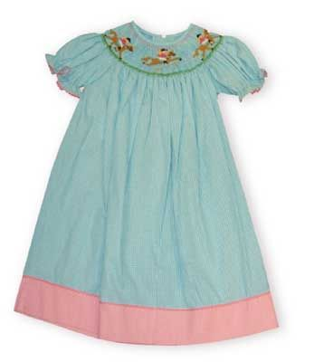 Anavini Fox Hunt horses fox hunting smocked bishop dress on a turquoise gingham with pink trim and pink ric rac on the sleeve.
