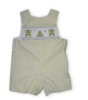 Anavini Leap Frog multicolor striped shortall with three frogs on smocking across the bodice.