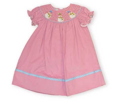 Anavini Mrs. Snowman and Her Friends on a light pink corduroy dress with ribbon trim. Comes in long sleeve or short sleeve.