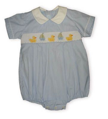 Anavini Rubber Ducky baby boy clothes blue and white striped short sleeve bubble with smocking across the bodice with three ducks on the smocking.