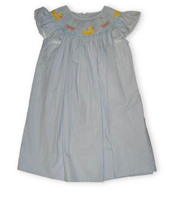 Anavini Rubber Ducky blue and white striped bishop dress with butterfly sleeves and three ducks on the smocking.